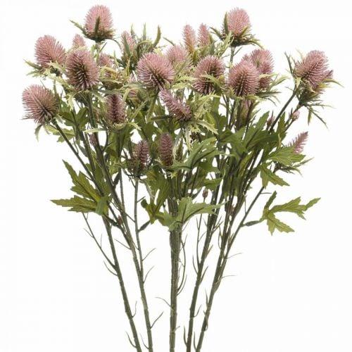 Chardon Artificielle Tige Fleur Rose 10 Têtes De Fleurs 68cm 3pcs