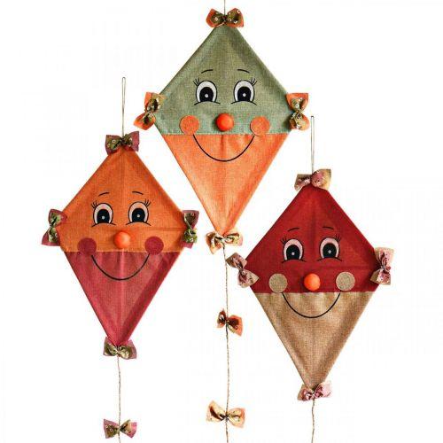 Cerf-volant décoratif à suspendre Décoration d'automne jute assortie 40 × 55cm 3pcs