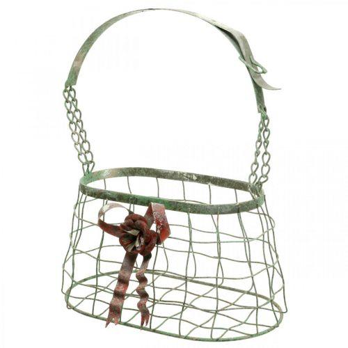 Sac à poignée, panier en métal, jardinière en fil de fer, panier de jardinière L28,5cm H33cm