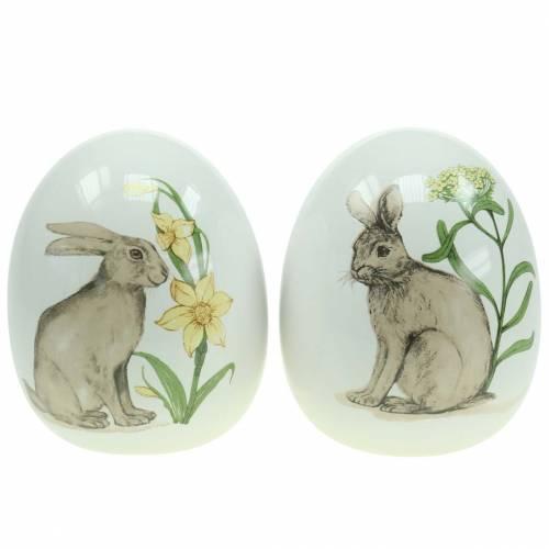 Œuf de Pâques en céramique avec motif de lapin Ø12,5cm H16cm 2pcs