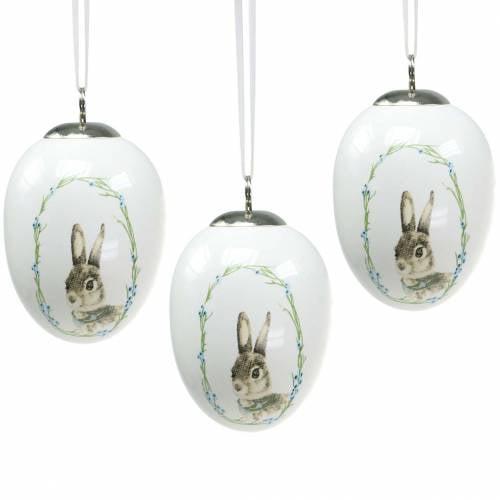 Oeuf à suspendre Céramique Motif lapin Blanc Ø5,5cm H7,6cm 12pcs