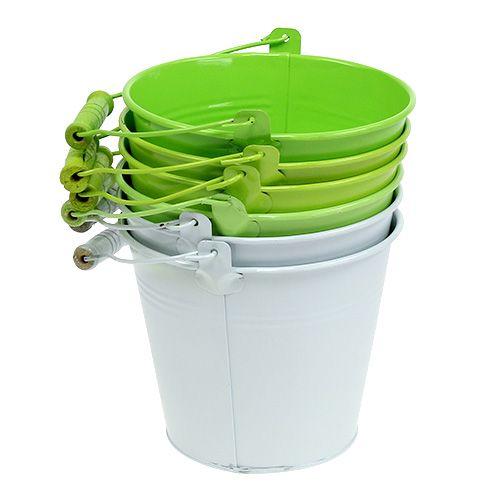 Seau mélange vert Ø14cm H12cm 6pcs