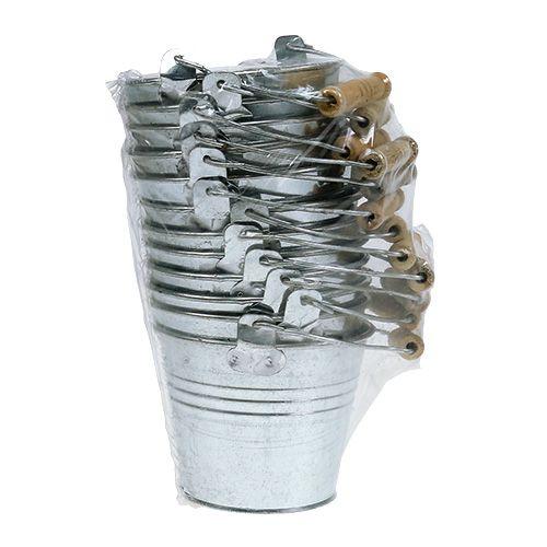 Seau Ø10 cm H. 8 cm 10 p. zinc brillant