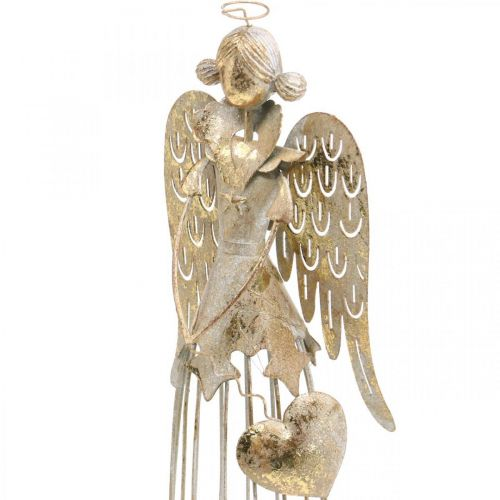 Figure d'ange avec coeur, décoration de Noël en métal, décoration ange antique-doré H38cm