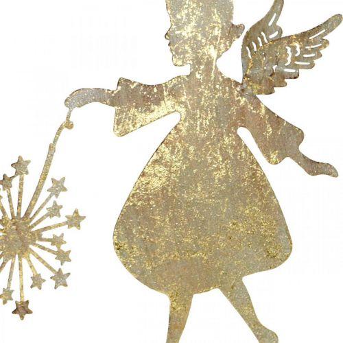 Ange avec pissenlit, décoration en métal pour Noël, figurine de décoration Avent doré aspect antique H27.5cm
