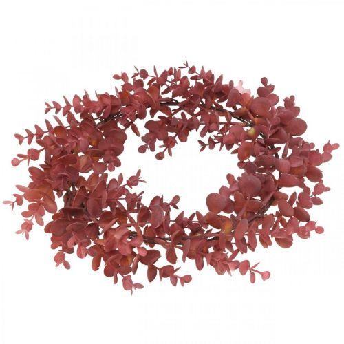 Couronne décorative eucalyptus rouge Couronne artificielle d'eucalyptus Ø32cm