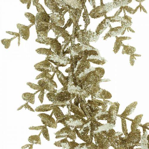 Couronne décorative eucalyptus artificiel doré, enneigé Ø36cm