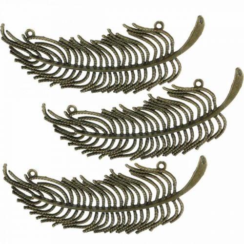 Plumes décoratives, pendentifs bijoux, plumes en métal, couleurs bronze dispersées L8cm 10pcs