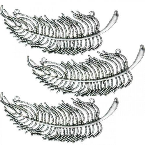 Plumes pour la décoration, décoration éparse, plumes métal, fabrication de bijoux argent L8cm 10pcs