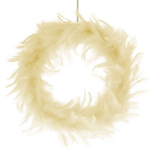 Couronne de plumes beige Ø 20 cm 3 p.
