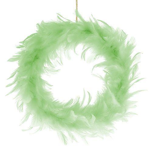 Couronne de plumes Vert clair Ø20cm 3pcs