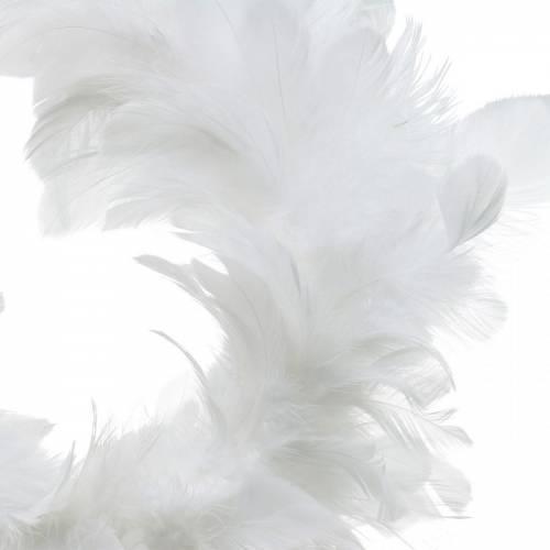 Décoration couronne de plumes blanches Ø25cm Décoration Pâques Plumes vraies