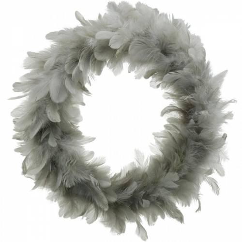 Décoration de Pâques guirlande de printemps grande gris clair Ø40cm décoration de printemps vraies plumes