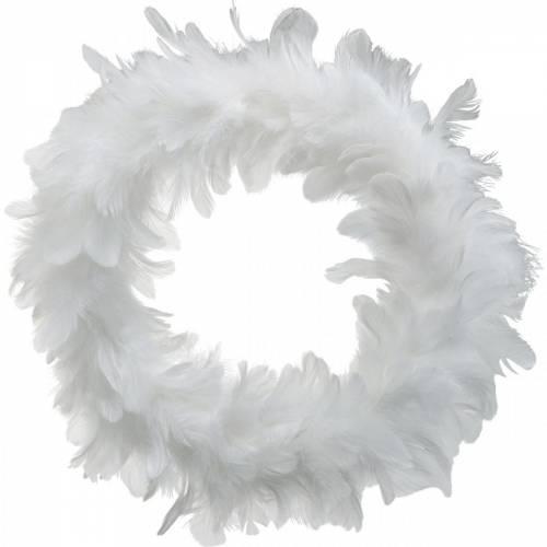 Décoration de Pâques guirlande de printemps grande blanche Ø40cm Plumes vraies