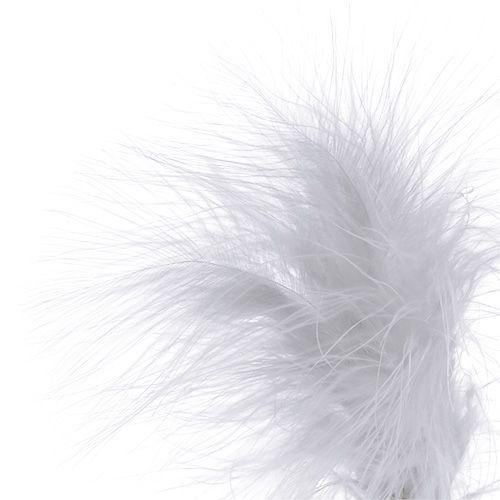 Piques avec plumes blanches L35cm 12P