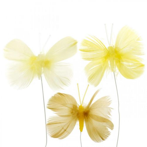 Papillons décoratifs sur un fil, décorations de printemps, papillons en plumes dans les tons de jaune 6pcs
