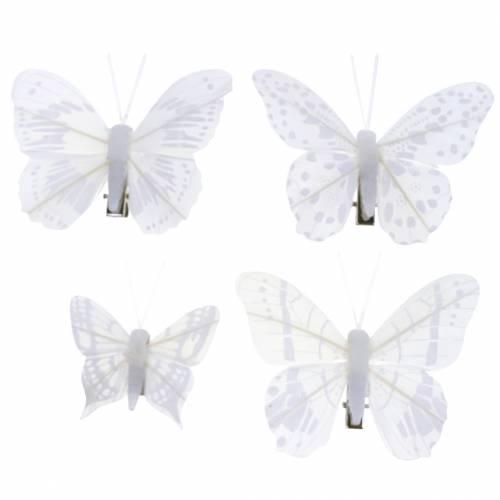 Papillon en plume sur pince Blanc 10 Pcs