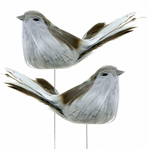 Plume oiseau sur fil gris 12cm 4pcs