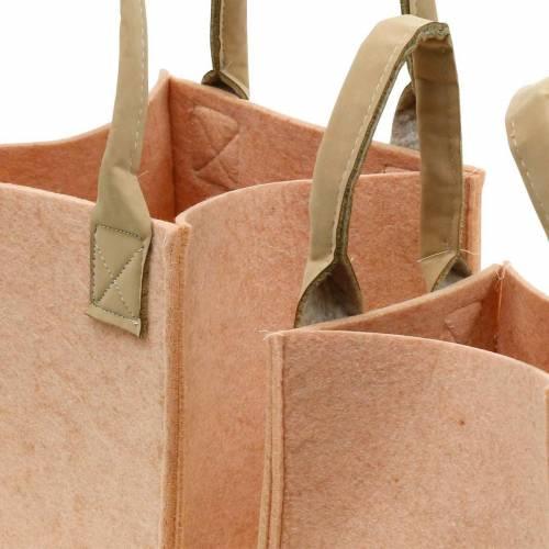 Jardinière en feutre sac en feutre rose avec poignées décoration feutre lot de 2