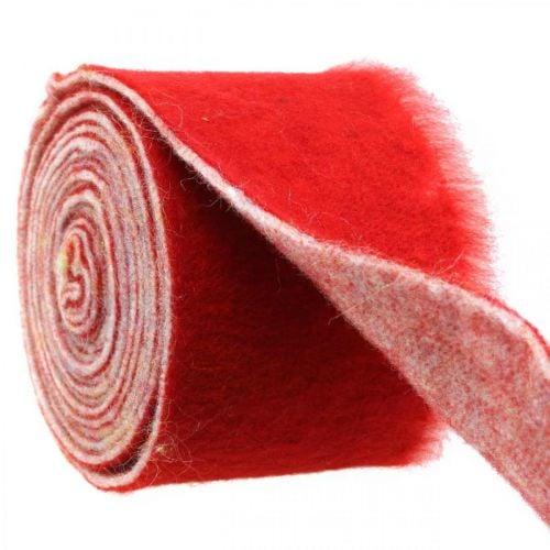 Ruban feutre décoration bicolore rouge, blanc Pot ruban Noël 15cm × 4m
