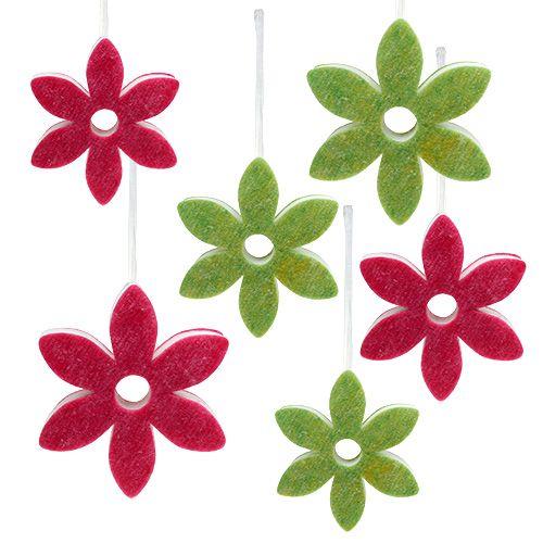 Fleur en feutrine, diff. couleurs, à suspendre, Ø 15-24 cm 6 p.