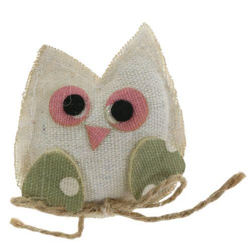 Tissu décoratif hibou 6cm rose / vert / blanc 6pcs