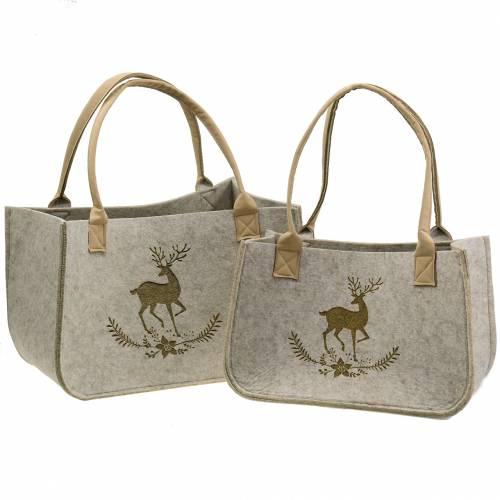 Lot de 2 sacs en feutre naturel avec motif cerf