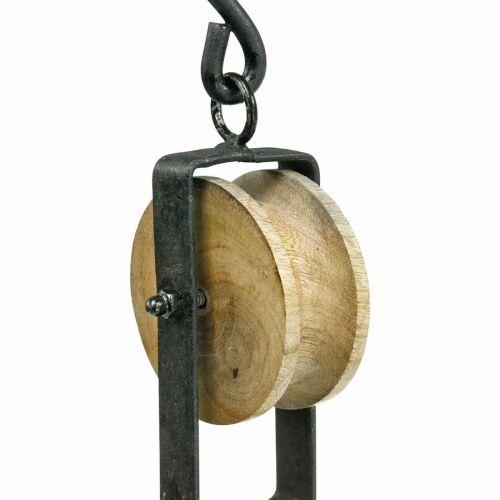 Poulie déco en métal, corbeille à fleurs suspendue en bois 29cm