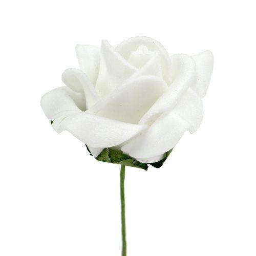 Rose mousse Ø 3.5cm blanc 48pcs