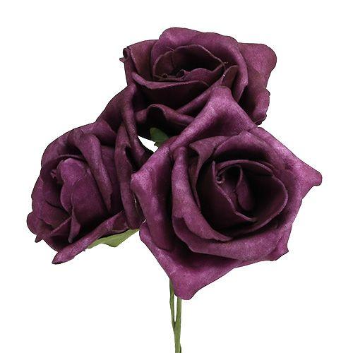 Roses en mousse Ø7,5cm Violet foncé 18P