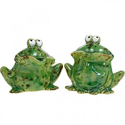 Couple de grenouilles, décoration en céramique, grenouille décorative, grenouilles assises