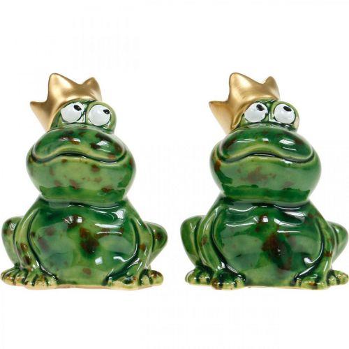 Grenouille décorative, prince grenouille, décoration printanière, grenouille avec couronne en or 2pcs