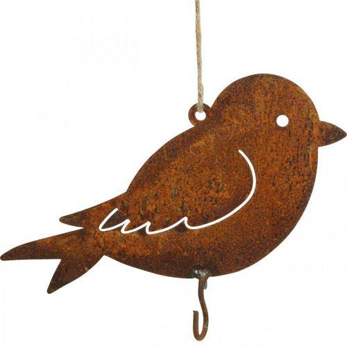 Oiseau décoratif, accroche-repas, décoration métal inox 19×13,5cm