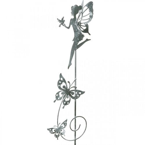 Décoration florale, fée de fleur de prise en métal, printemps, elfe avec des papillons, prise de plante 2 pièces