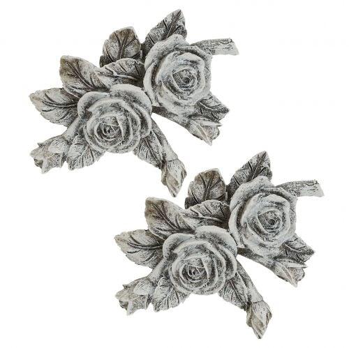 Rose pour décoration funéraire en polyrésine 10 x 8 cm 6 p.