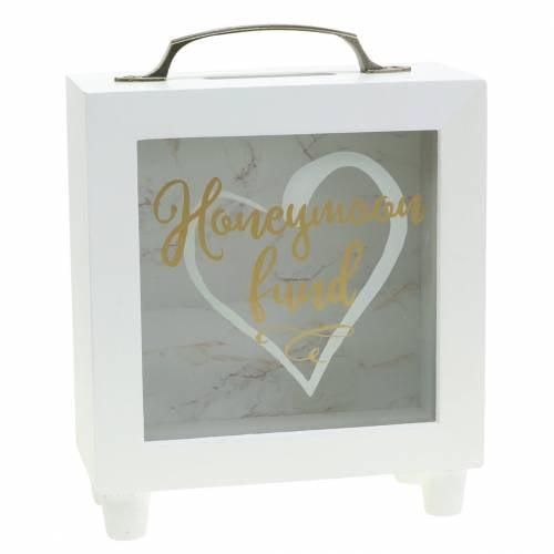 "Tirelire de mariage ""Honeymoon Fund"" en bois avec façade en verre blanc H15m"