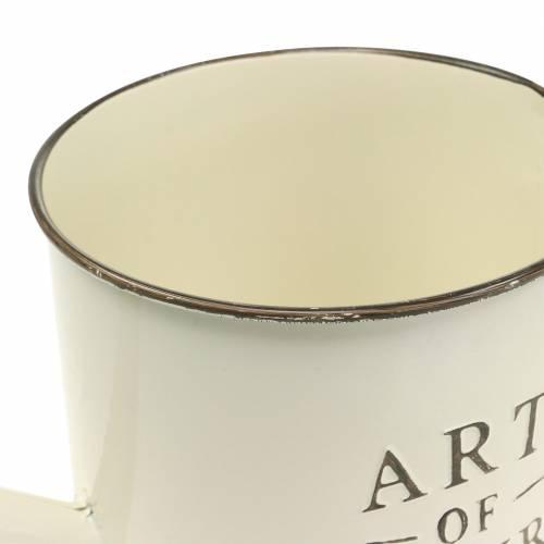 Arrosoir pot de fleurs crème zinc Ø16.5cm H17cm
