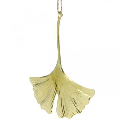 Pendentif feuille de Ginkgo, décoration de l'Avent, décoration métal pour l'automne Doré L12cm 12pcs