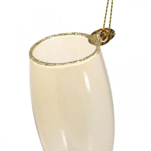 Bouteille de champagne et verre, décorations de sapin, anniversaire, décoration en verre à accrocher, réveillon du nouvel an H14.5cm vrai verre lot de 2