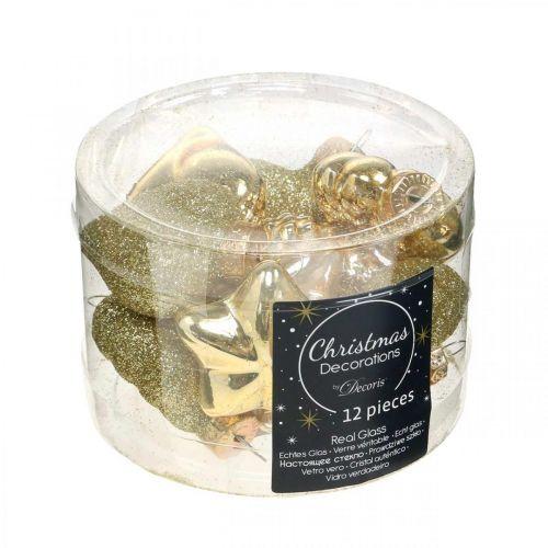 Mini décorations de sapin de Noël mix verre or, couleurs de perles assorties 4cm 12pcs