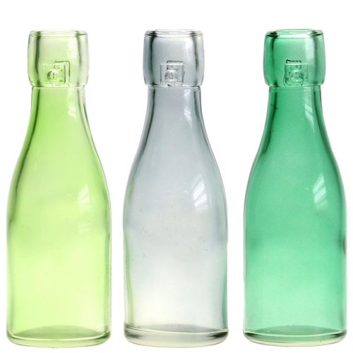 Bouteille / vase en verre Ø 5 cm H. 16 cm gris-vert 6 p