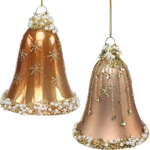 Cloches en verre avec décor, décorations d'arbres de Noël, cloches à suspendre Ø6.5cm H8cm beige lot de 2