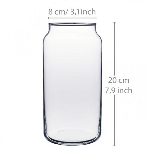 Vase à fleurs en verre vase en verre clair décoration de table Ø8cm H20cm