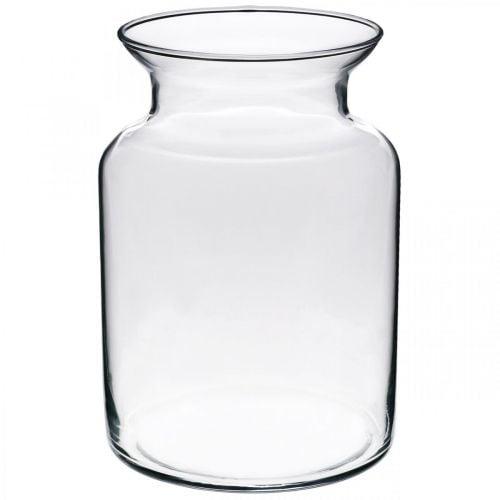Vase à fleurs en verre large clair Ø12cm H20cm