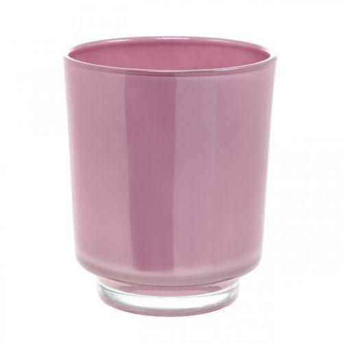Jardinière en verre, pot orchidée, vase déco rose H16cm Ø13.4cm
