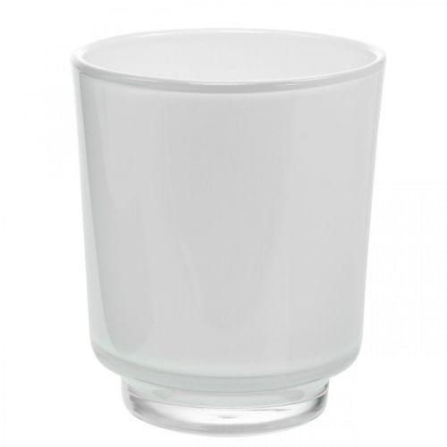 Vase à fleurs, vase en verre, cache-pot blanc H16cm Ø13,4cm