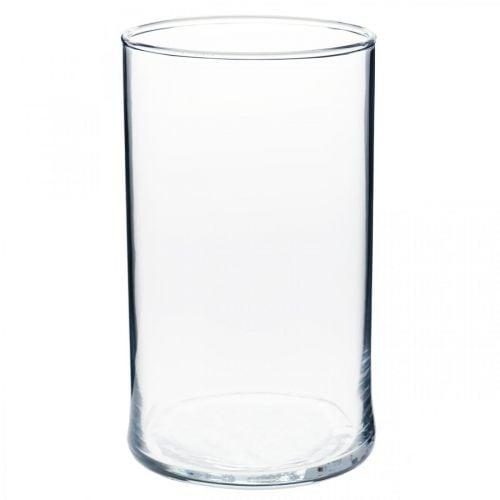 Vase en verre transparent cylindrique Ø12cm H20cm