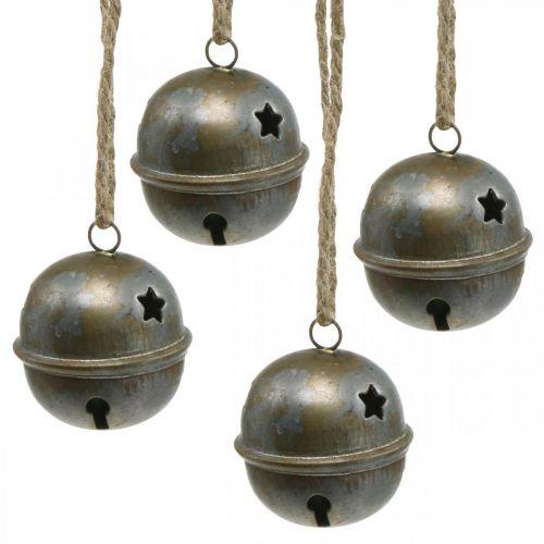 Cloches de Noël, cloches avec étoiles, décoration de l'avent métal aspect antique H5.5cm Ø5cm 4pcs