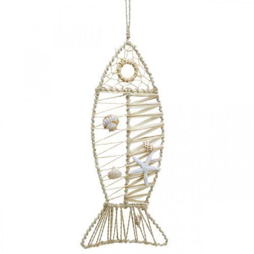 Déco poisson maritime avec vannerie et coquillages, cintre décoration forme poisson nature 38cm