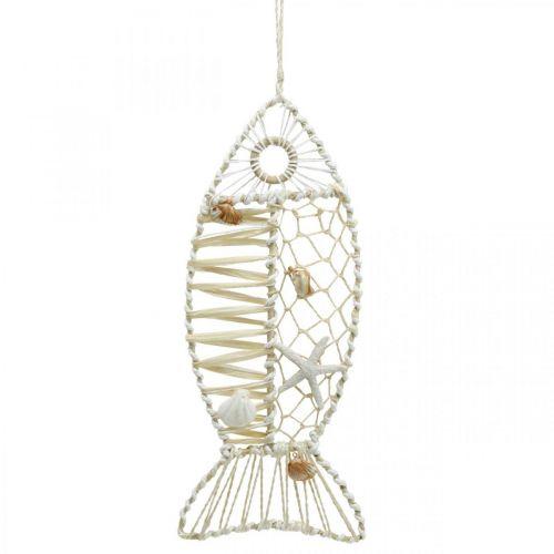 Poisson décoratif à décor de coquillages, décoration maritime, poisson à suspendre blanc 38cm